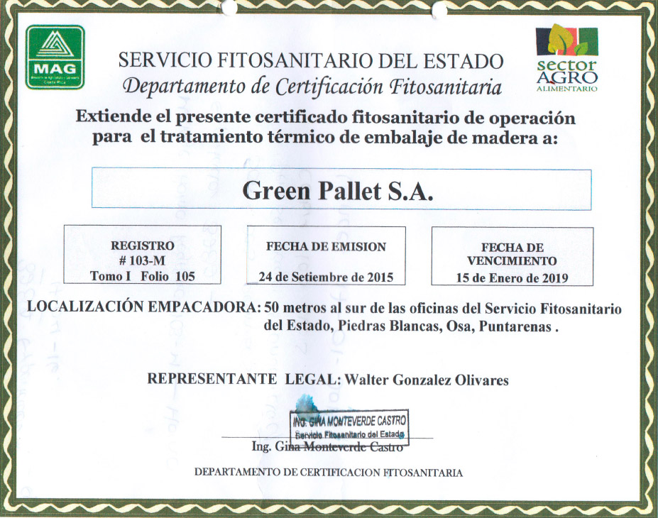 Producción de tarimas de madera certificadas en Costa Rica